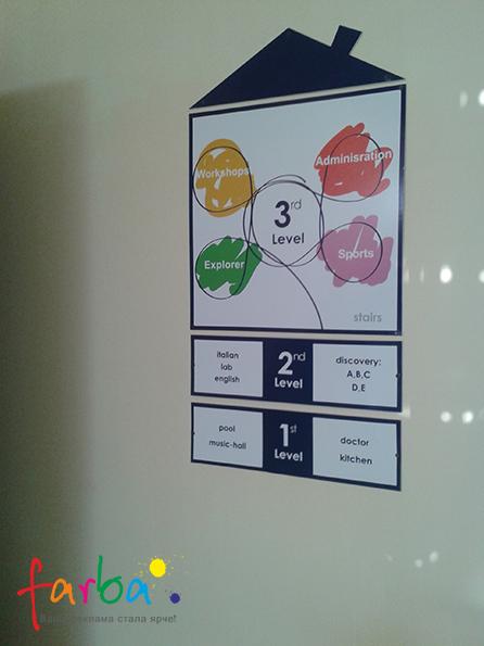 Пластиковый информационный стенд, состоящий из четырех частей, закрепленных на стену с помощью саморезов.