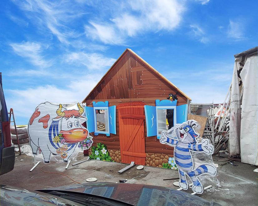 Ростовые фигуры персонажей из мультфильма Простоквашино, изготовленные на пластиковой основе с цветной печатью и ламинацией.
